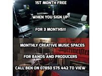 Music rehearsal and production rooms for monthly hire BN41 24 hour access