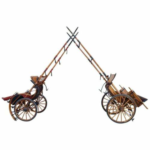 20th Century Italian Pair of antique Horse Drawn Carriage Buggy Carriage Wagon