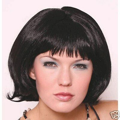 Black Flip Wig with Bangs Lady Party Dress up Halloween Costume party