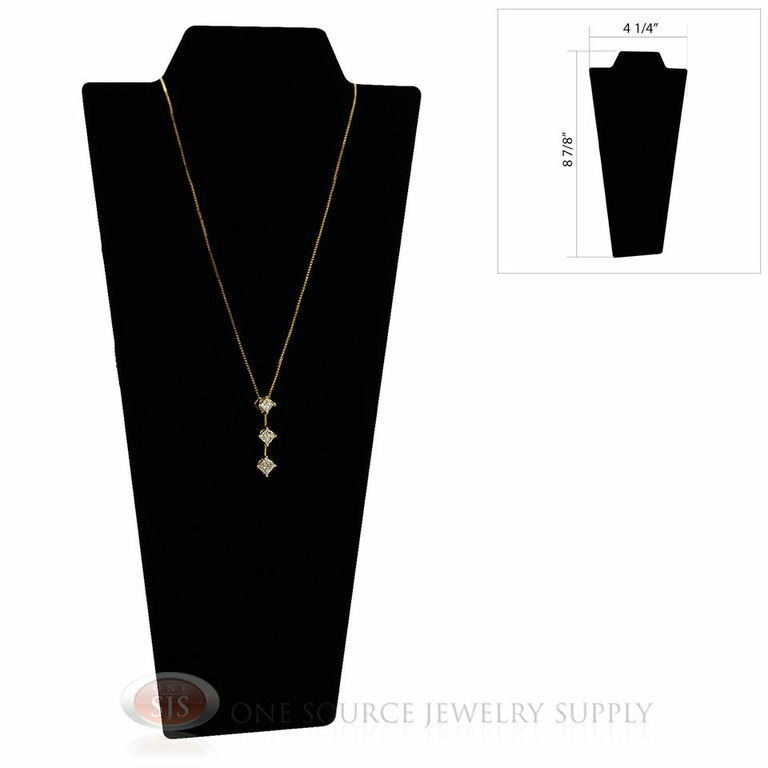 "Black Velvet 8 7/8"" Padded Pendant Necklace Display Easel Neckform Stand"