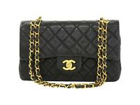 "Chanel 2.55 9"" Double Flap Black Quilted Leather Shoulder Bag"