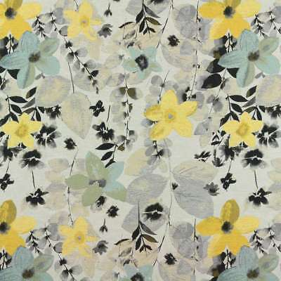 4 YD ADESAL JACQUARDS BOTANICAL OLD YELLOW  FLORAL HEAVY WOVEN UPHOLSTERY FABRIC