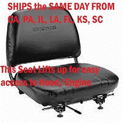 New Universal Folding Vinyl Forklift Seat Fits Clark Cat Hyster Yale Toyota