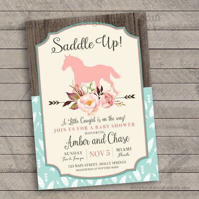 Saddle Up Baby Shower Invitations /Rocking Horse Country Chic/ Set of 10 - Country Baby Shower