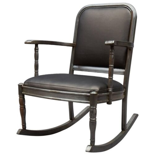 Simmons Sheraton Series Brushed Steel And Gunmetal Vinyl Rocking Chair