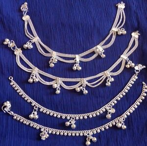 Tribal lot 4 Gypsy silver Anklet Ankle Bracelet Indian Belly Dance foot jewelry