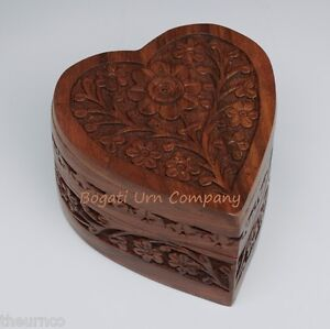 Hand-carved Rosewood Heart Pet or Keepsake Cremation Urn - Velvet Lining