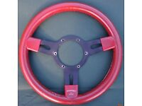 """Mountney 13"""" Steering Wheel, tan leather with black spokes, slightly dish-shaped £25.00 ono"""