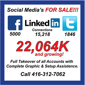 FOR SALE – SOCIAL MEDIA'S - 22,064K CONNECTIONS