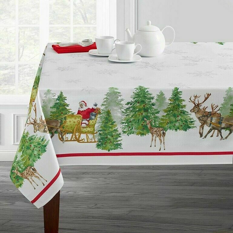 Santa's Sleigh Tablecloth Christmas Jacquard Textured Printe