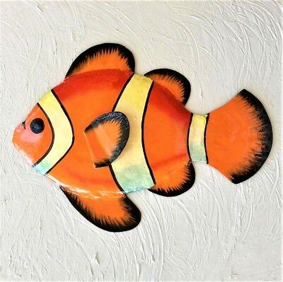 "OUTDOOR HAITIAN 9"" METAL ORANGE CLOWN FISH TROPICAL  HANGING WALL ART DECOR"
