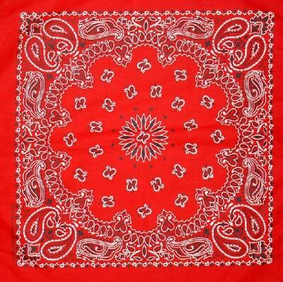 "New 22"" Red Paisley Bandana Handkerchief Scarf 100% Cotton M"