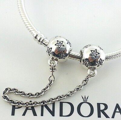 New Authentic Pandora Star Silver Safety Chain Charm # 791782CZ w/Box