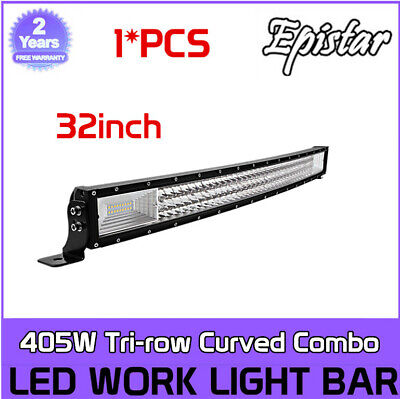 405W Curved 32INCH Tri-Row Combo Led Light Bar Slim Offroad SUV ATV 7D+ PK 30/34