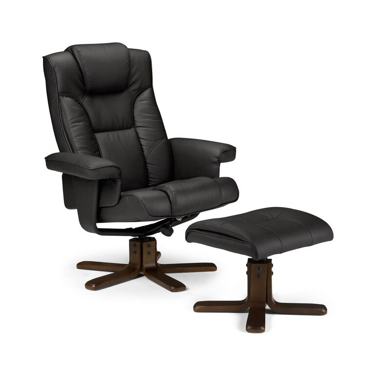 malmo faux leather swivel recliner chair with footstool in black or