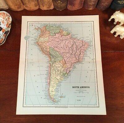 Original 1885 Antique Map SOUTH AMERICA Brazil Peru Argentina Galapagos Islands