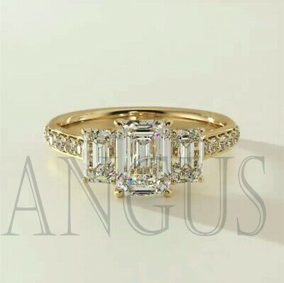 3.66Ct Emerald Cut Diamond Engagement Wedding Ring Solid 14K Yellow Gold 14k Gold Diamond Wedding Ring