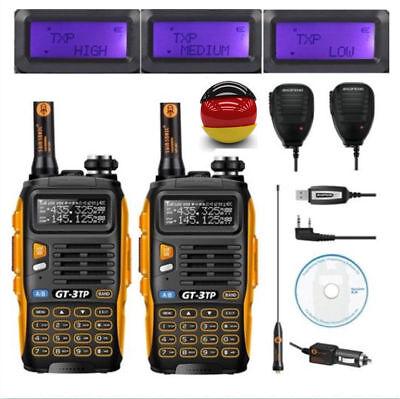 2×Baofeng GT-3 TP Mark III+2×Mikrofon+Kabel ★8W★ Dual Band Radio Hand-Funkgerät