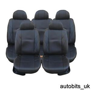 FULL SET BLACK LEATHER 5X SEAT COVERS FOR 5 SEATER FORD C