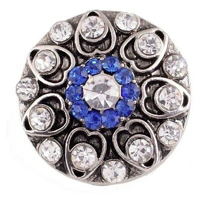 Silver Blue White Rhinestone Hearts 20mm Snap Charm For Ginger Snaps Jewelry White Hearts Snap
