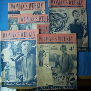 6 VINTAGE MAGS (WOMAN'S WEEKLY) 1958, 59 & 61