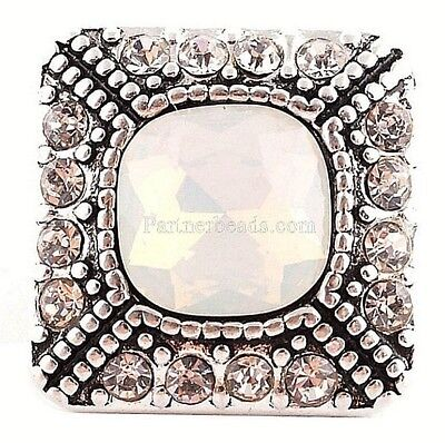 Antiqued Silver Opal Rhinestone Square 20mm Snap Charm For Ginger Snaps Jewelry