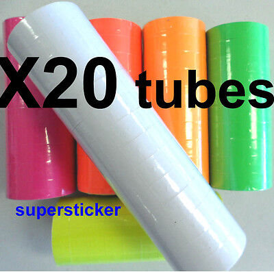 White Price Tags For Mx-6600 2 Lines Gun 20 Tubes X 14 Rolls X 500