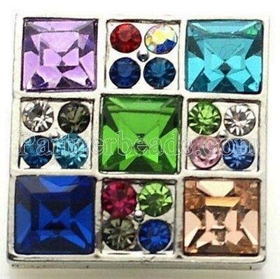 Silver Square Rhinestone Blue Purple 20mm Snap Interchangeable Fits Ginger Snaps