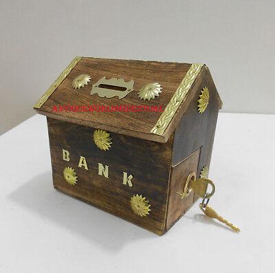 Nautical Piggy Bank (Nautical House Coin Piggy Bank Wooden Brass Decorative Lock Key)