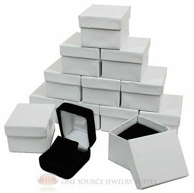 12 Piece Black Velvet Pendant Earrings Jewelry Gift Boxes 1 78 X 2 18