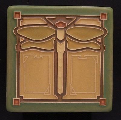 4x4 Arts & Crafts Dragonfly Tile in Sage by Arts & Craftsman Tileworks