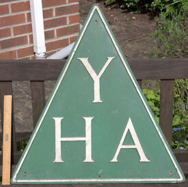 Royal Label Factory - Cast aluminium sign - YHA - Youth Hostel Association - Old