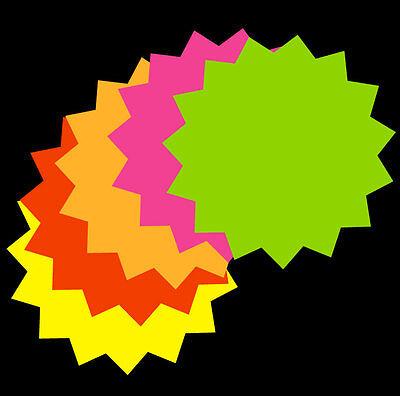 2x 2 - 50pk Fluorescent Star Burst Round Neon Retail Sale Tags Cards Neosplash