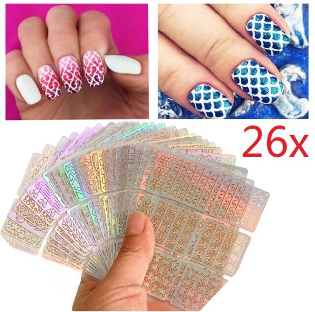 26x Nail Art Stickers Vinyl Stencil Guides Polish 3d Manicure Tips ...