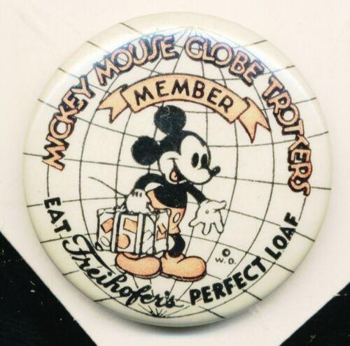 DISNEYANA-Pin Back Button-MICKEY MOUSE Globetrotter-(K.Kamen label) MKY-470-1937