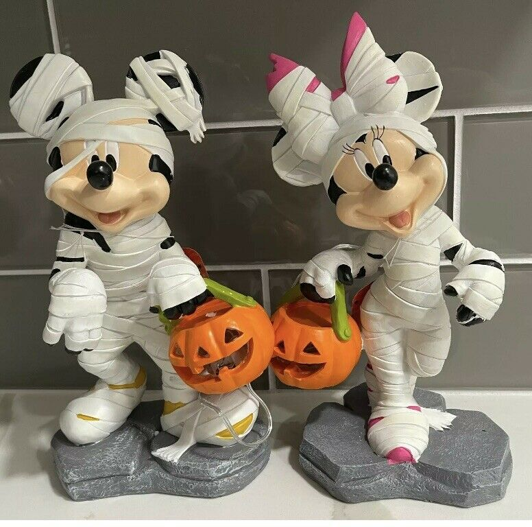 """2021 NEW Disney Mickey & Minnie Mouse Light-up LED Garden Statues Halloween 10"""""""