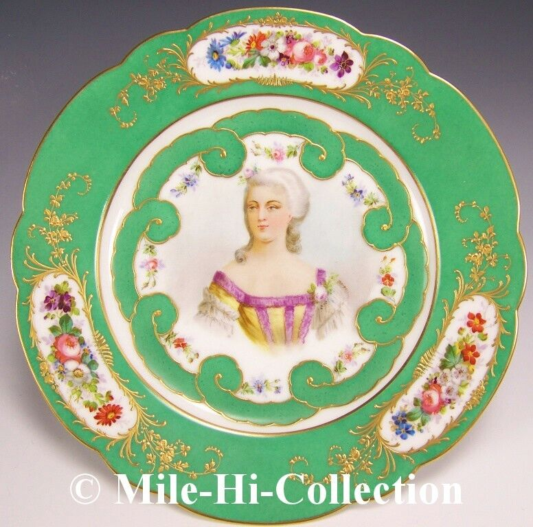 SEVRES FRANCE HAND PAINTED PORTRAIT MADAME DUBARRY RAISED GOLD PLATE BY MOREAU