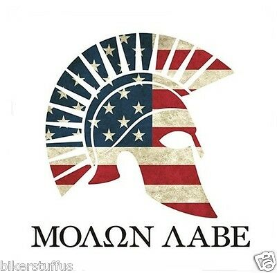 Greek Flag Sticker (MOLON LABE AMERICAN FLAG GREEK SPARTAN STICKER WITH WHITE BACKGROUND)