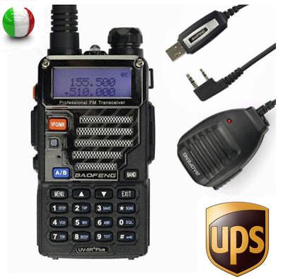 Baofeng UV-5R Plus + Cavo + MICROFONO 136-174/400-520Mhz Walkie Talkie RADIO