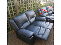 2 seater recliner sofa. Black real leather. Delivery is possible