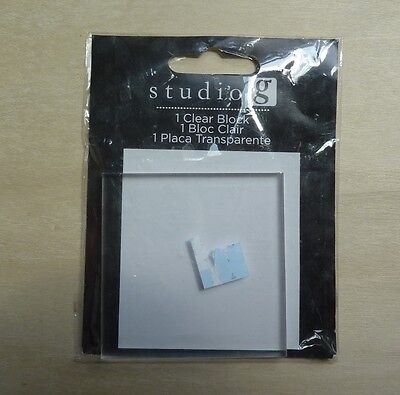 """Studio G 1 clear block for mounting clear stamps, Hampton Art 2 1/2""""x2 1/2""""x1/2"""""""
