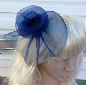 navy blue fascinator millinery feather brooch clip wedding hat bridal ascot race | eBay