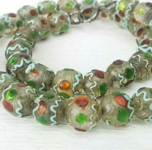 ATQ Unusual Old Venetian Trade Wedding Blue Red Green Gold Foil Bead Necklace