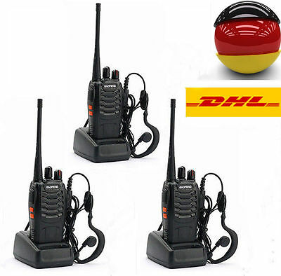 DHL 3* Baofeng BF-888S + Kopfhörer 5W CTCSS UHF Hand-Funkgerät Walkie Talkie