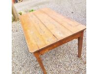 French old pine Table with patina. Suitable for restaurants & bars or simply for home.