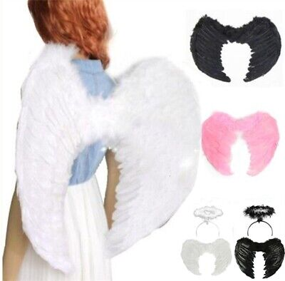 Angel Feather Wings Fancy Dress Costume Cosplay Halloween Xmas for Kids Adults - Angel Costumes For Halloween For Kids