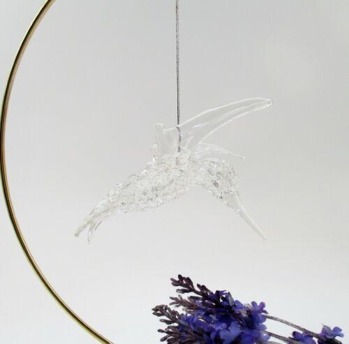 Hand Blown Lampwork Art Glass Hummingbird Ornament Spun Glass Body