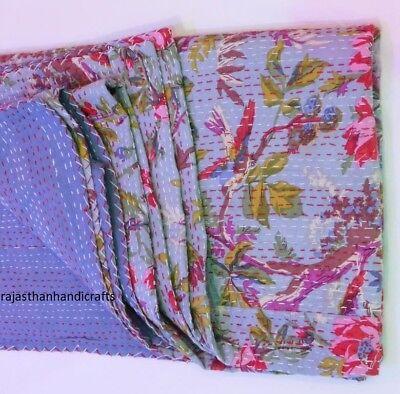 Bird Print Kantha Quilt Queen Bedding Reversible Handmade Indian Blanket Throw