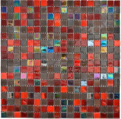 Glasmosaik braun rot Wand Boden Küche Dusche Bad Fliesenspiegel |WB58-0913 - Rot Bodenfliesen