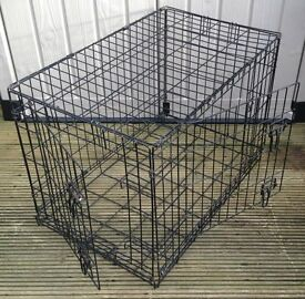 FOLDING BLACK METAL DOG CAGE L. 30 INCHES x WIDTH 20 INCHES x H. 24 INCHES